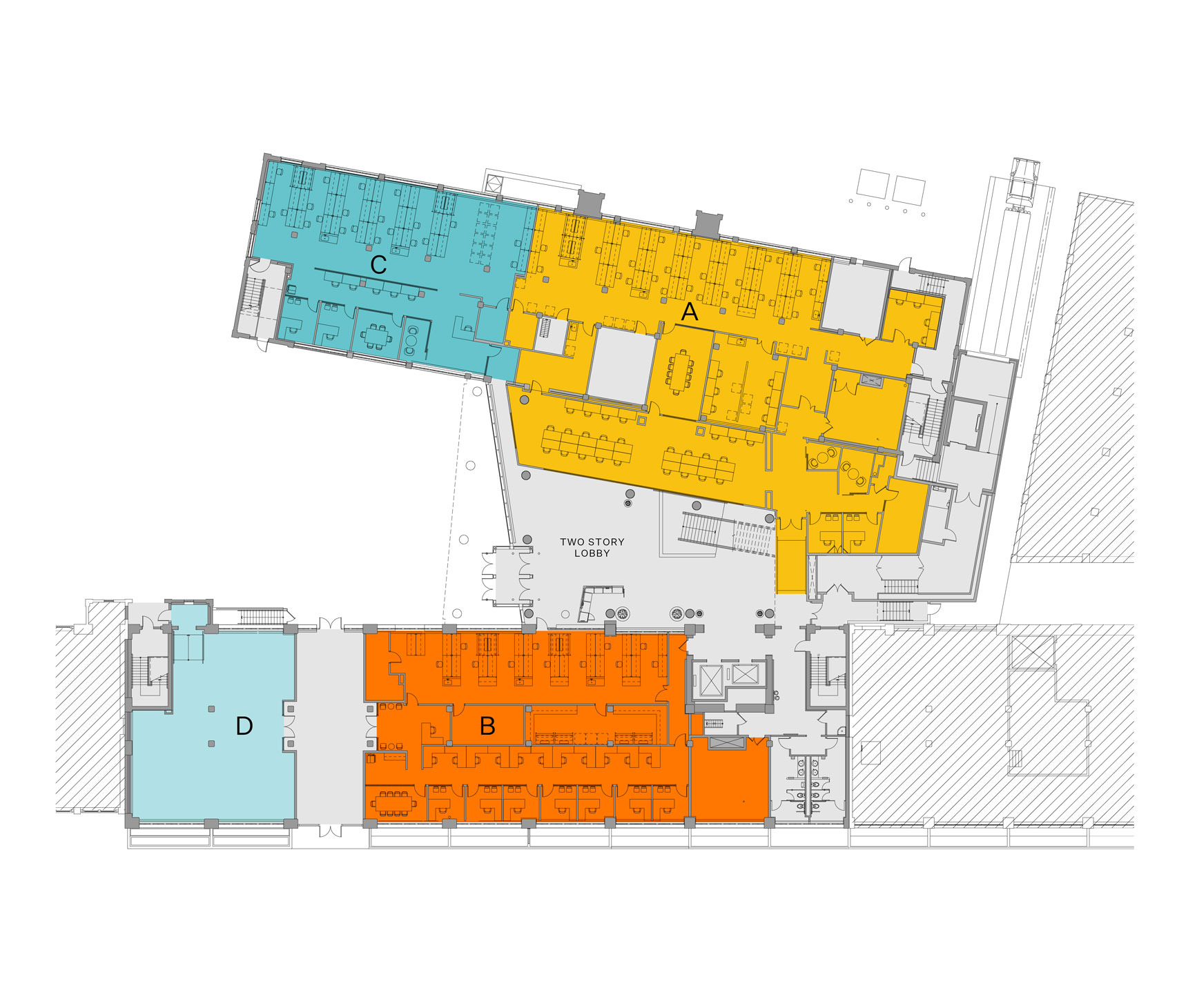 Blueprint layout of Winchester campus level 1