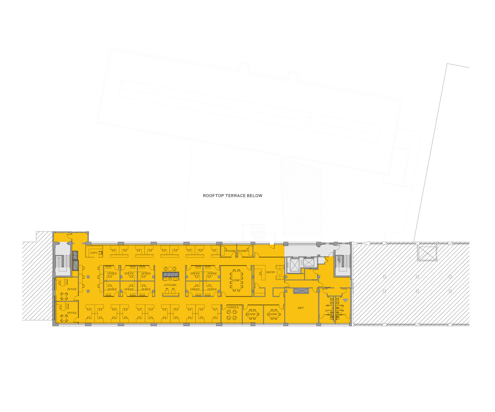 Blueprint layout of Winchester campus level 6